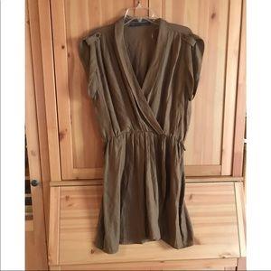 Zara Basic linen faux wrap dress army green xl